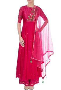 hot-pink-embroidered-kurta-set