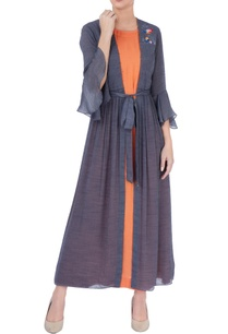 orange-maxi-with-blue-long-jacket