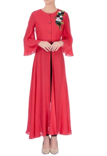 red-front-slit-kurta
