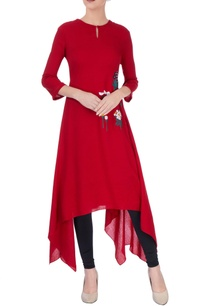 dark-red-asymmetric-kurta