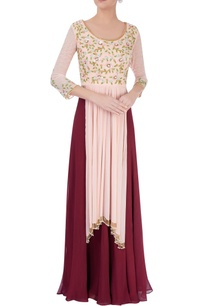 peach-high-low-kurta-wine-palazzos