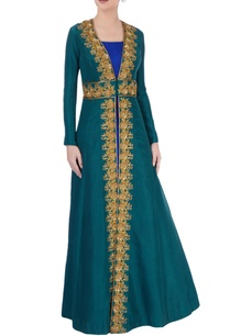 royal-blue-maxi-with-emerald-green-jacket