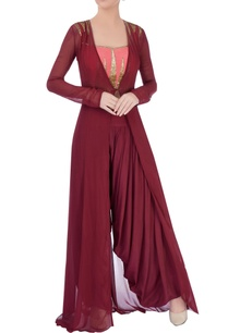 marsala-dhoti-pants-coral-top-with-jacket