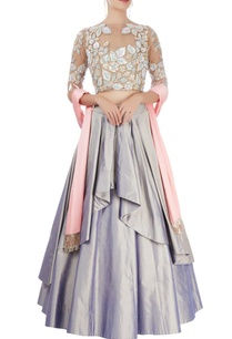 lavender-pleated-lehenga-set
