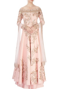 peach-anarkali-with-skirt-dupatta