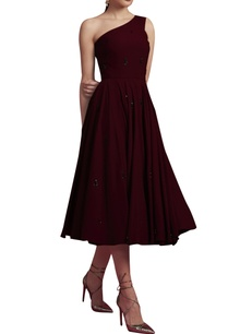 deep-maroon-embroidered-dress