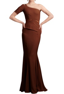 caramel-brown-one-shoulder-gown