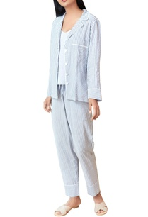 grey-white-striped-pajama-set