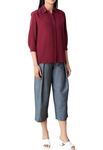 burgundy-button-down-shirt