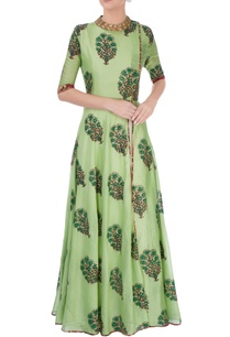 green-leaf-print-anarkali