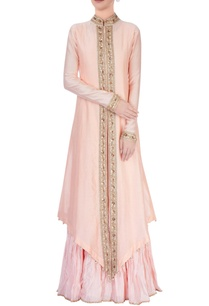 peach-jacket-anarkali-set
