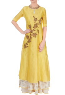 yellow-printed-anarkali-set