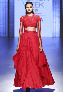 red-draped-lehenga-fringed-blouse