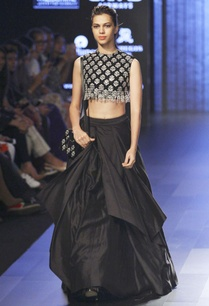 black-lehenga-with-embellished-blouse