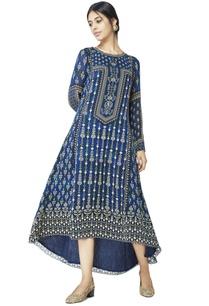 blue-printed-kurti-with-asymmetrical-hemline