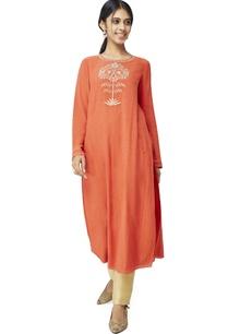 rust-orange-embroidered-kurti