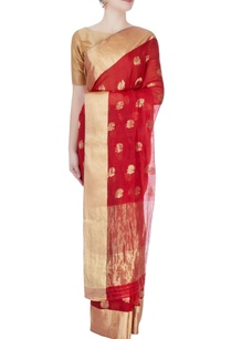 red-mulberry-silk-sari-with-tanjore-paintings