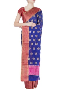 royal-blue-woven-sari-with-tanjore-paintings