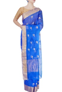cobalt-blue-mulberry-silk-sari-with-camel-motifs