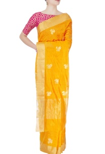 canary-yellow-golden-birds-print-sari