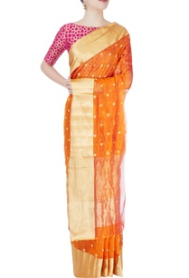 tangerine-orange-mulberry-silk-sari