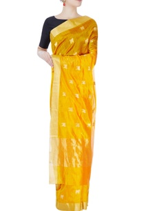 tuscan-yellow-sari-with-golden-cow-motifs