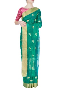 shamrock-green-mulberry-silk-sari