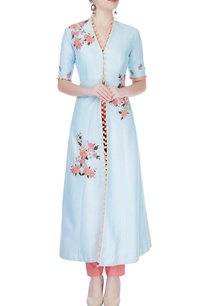 blue-floral-print-kurta-set