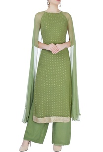 khaki-green-cape-style-kurta-set