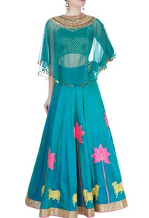green-lotus-print-lehenga-set