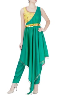yellow-crop-top-with-dhoti-pants-and-kurta