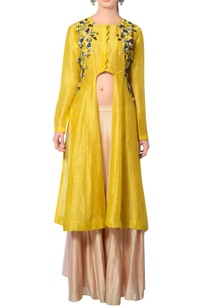 mustard-yellow-beige-embroidered-skirt-set