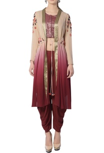 maroon-beige-embroidered-pant-set