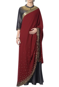 grey-dress-with-maroon-embroidered-dupatta
