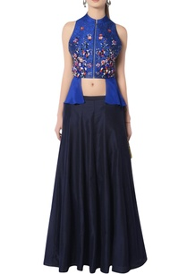 blue-embroidered-skirt-set