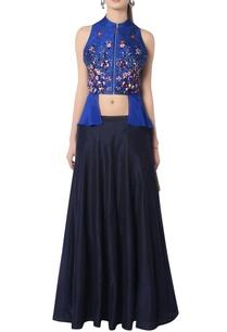blue-embroidered-skirt-set