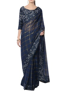 navy-blue-embroidered-sari-with-blouse