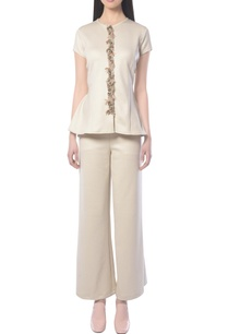 beige-embellished-pant-set