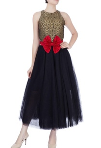 black-gold-pouf-dress