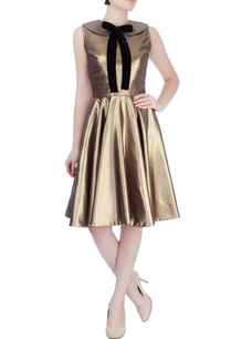 gold-short-dress-with-black-bow