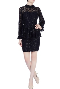 black-sequin-embellished-peplum-dress