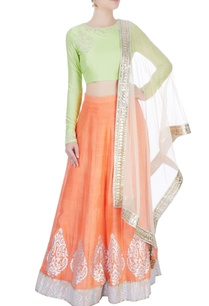 orange-light-green-lehenga-set