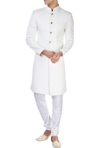 white-ackhan-style-kurta-and-pyjamas