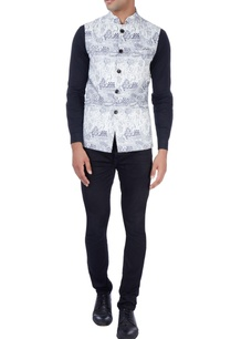 grey-white-nehru-jacket-in-graphic-print