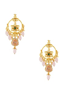 gold-studded-drop-earrings-with-pink-stones