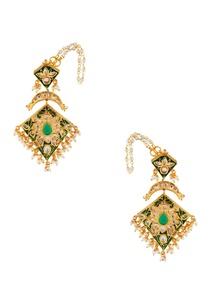 green-kite-shape-studded-earrings