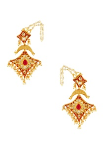 red-kite-shape-studded-earrings