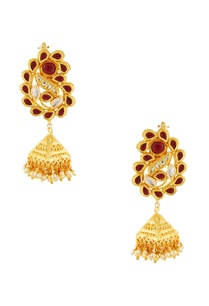 gold-red-studded-jhumkas