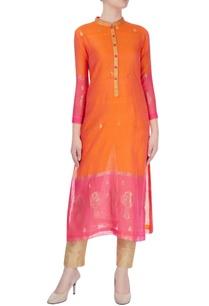 pink-orange-kurta-with-gold-leaf-motif
