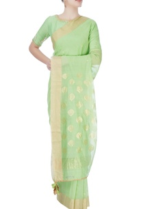 green-sari-peacock-print-blouse